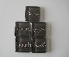 Oh So Very Pretty Inspirational Words Square Glass Magnets Set of 5