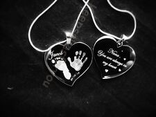 HAND/FOOT PRINT  ENGRAVED LARGE HEART NECKLACE  - PERSONALISED