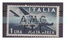 TRIESTE A - 1947  POSTA AEREA   SOPR. DUE  RIGHE   Lire 1   NUOVO **