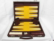 Vintage Back Gammon Travel Game Cloth & Leather Interior-Cloth Exterior