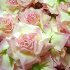 Pretty Shabby Chic Pale Pink & Ivory Wild Roses Fabric Flowers Embellishments