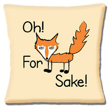 "Funny Novelty Message 'Oh For Fox Sake!' Fox on Cream 16""  Pillow Cushion Cover"