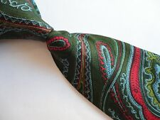LIBERTY OF LONDON Green Background Red Blue Paisley Pattern Silk Necktie Tie
