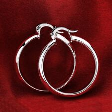 Hot sale 925 sterling silver Fashion jewelry Smooth Ear Stud round Hoop Earrings
