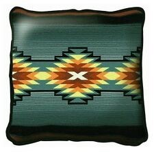SOUTHWEST INDIAN DESIGN WESTERN RANCH MINT GREEN TAPESTRY THROW PILLOW 17x17