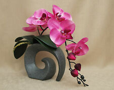 ARTIFICIAL SILK MOTH ORCHID PINK WITH LEAVES IN STONE EFFECT FOSSIL CERAMIC VASE
