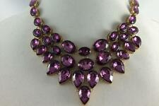 "SUZANNE SOMERS LARGE FACETED PURPLE STONES BIB STATEMENT NECKLACE 19"" LONG"
