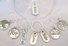 SET OF 8 INSPIRING WORDS Joy-Peace-Love-Hope-Courage-Soar+ WINE GLASS CHARMS Lot