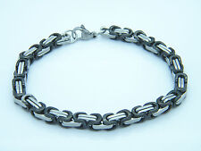 MEN'S CHUNKY LINK CHAIN BYZANTINE STAINLESS STEEL BRACELET BLACK/SILVER
