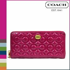 Coach 49962 Peyton OP Art Embossed Patent Leather Accordion Zip around Wallet
