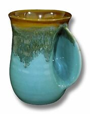Clay in Motion Handmade Ceramic Handwarmer Mug - Ocean Tide - Right Hand