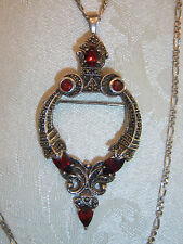 GORGEOUS STERLING GARNET MARCASITE PENDANT NECKLACE