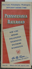 Pennsylvania Railroad Schedule for New York to Washington DC from April 27,1952