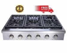 "Pro-Style 36"" THOR KITCHEN Stainless HRT3618U Gas Cooktop Rangetop, Six Burners"