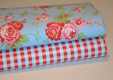 CATH KIDSTON IKEA ROSALI BLUE FLORAL & CHECK COTTON FABRIC HALF METRE OF EACH