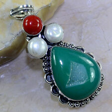 "FREE SHIPPING DRUSY DRUZY+RED CORAL+RIVER PEARL PENDANT 3"",23 GRAMS; K2080"