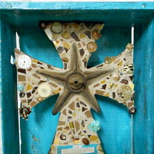 Rustic Brown and Turquoise Folk Art Primitive Wall Cross Found Art Assemblage