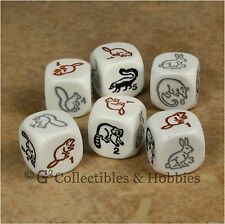 NEW 6 Woodland Animal Dice Set Skunk Rabbit Opossum Raccoon Beaver Squirrel D6