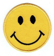Iron On Embroidered Applique Patch - Smiley Face Emoji Yellow Emoticon