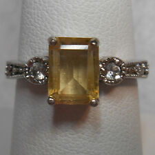 Estate~1 ct Genuine Citrine & Clear Gemstones 925 Sterling Silver Ring Size 7