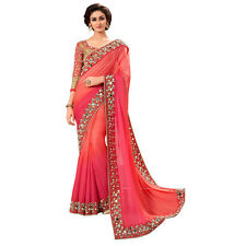 Bollywood Designer Indian Saree Fabric Georgette Wedding Mirror Work Sari Blouse