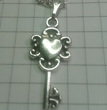 """Tibetan Silver charm """"cuore MED KEYS"""" 18""""or 20"""" ARGENTO P/T Collana"""