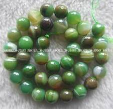 """10mm Green Veins Agate Faceted Round Beads 15"""""""