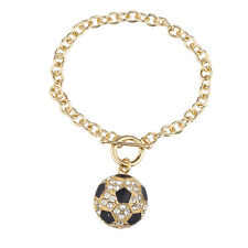 Lux Accessories Goldtone Rhinestone Soccer Sports Soccer Ball Charm Bracelet