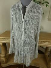 LIZ & ME PLATINUM SIZE 3X 26/28W LACE NET BUTTON DOWN TRUMPET SLEEVE TUNIC TOP