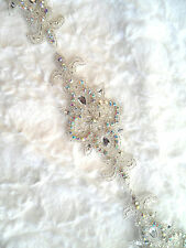 XR75 Silver Beaded Crystal AB Aurora Borealis Rhinestone Craft Bridal Trim 34""