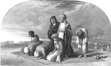 MUSLIM ARABS Pray to ALLAH in Desert on RUG KORAN ~ Old 1875 Art Print Engraving