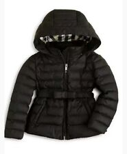 Burberry Hooded Puffer Jacket Girls Sz 6Y 116cm Black