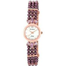 NIB ARMITRON Rose Gold Tone Glitz Purple Pearls Ladies Watch FREE SHIP
