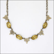 Art Deco Continental Silver and Citrine Paste Leaf Necklace
