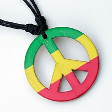 Reggae Hippie Rasta Peace Sign Pendant Adjustable Cord Necklace WYN337 ( QTY 2 )