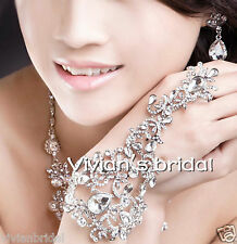 Bling Bridal Slave Chain Link Ring Bracelet Crystal Rhinestone Wristband Bangle