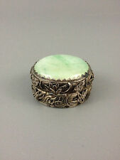 China Silver Sterling Silver And Jade Hinged Trinket Box