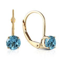 1.2 Carat 14K Solid Gold Iris Blue Topaz Earrings