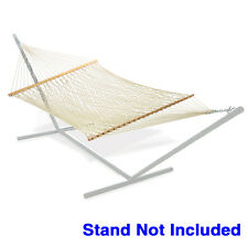 NEW Cotton Rope Hammock Double Wide with Solid Wood Spreaders 2 Person 450lbs
