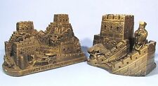 GREAT WALL OF CHINA  FIGURAL BOOKENDS BRONZED RESIN SOUVENIR BUILDING PAIR