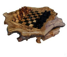 Olive wood Chess Set Rustic Board 20""