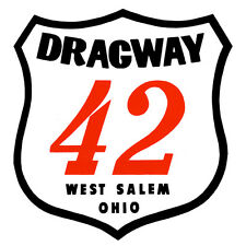 DRAGWAY 42 WEST SALEM OHIO DRAG RACE HOT RAT ROD DECAL VINTAGE LOOK STICKER