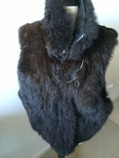 Andrew Marc Fur Vest with Leather Collar Women's Size L