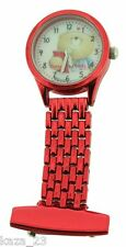 Forever Friends Bear Red Metal Nurses Beautician Vet Fob Watch New FFFR75/a