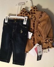 Baby Phat Infant 3 Piece Outfit Jeans Leopard Jacket Size 3-6 Month NWT MSRP $50