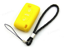 Yellow Silicone Case Cover For Peugeot 107 207 307 407 607 Flip Remote Key 3BTS