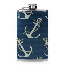 Leather Wrapped 6oz Stainless Steel Hip Flask FSK179 Anchors on Blue