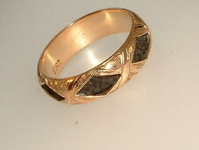 VICTORIAN 15CT GOLD HAIR MOURNING RING