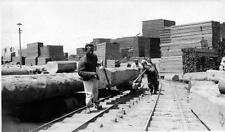 Old Photo. Korea.  Lumber Mill - Transporting Timber Logs By Rail