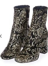 Topshop MERLOT sequin embroidered baroque velvet Ankle Boots Uk6 BRAND NEW BOOTS